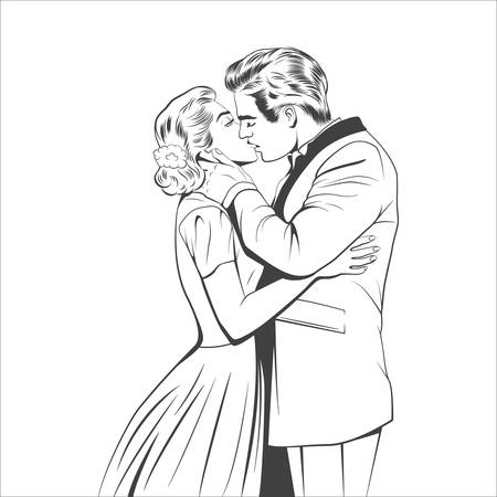 husband: Kissing couple in the retro style. Vector EPS8 illustration.