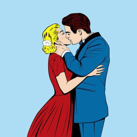 companionship: Kissing couple in the pop art comics style. Vector EPS10 illustration.