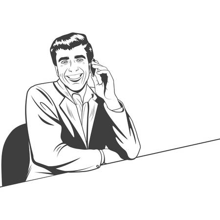 line art: Businessman speaking by phone. Vector   illustration in the retro style.