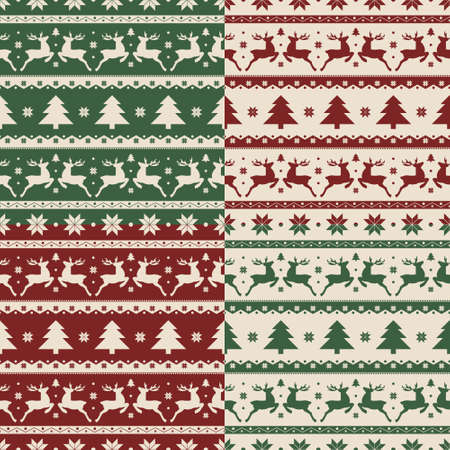 christmas sock: Set of Christmas and New year seamless patterns. Vector illustration.
