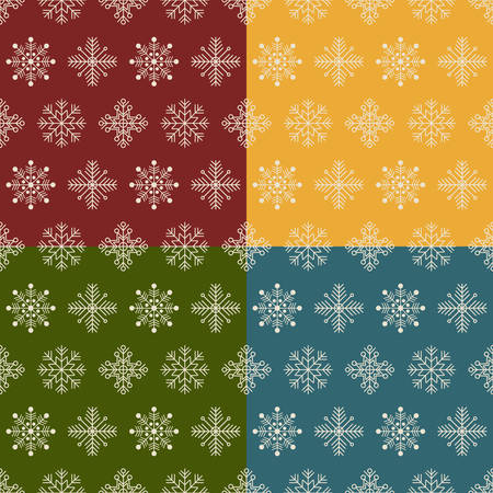 tree trimming: Set of Christmas and New year seamless patterns. Vector  illustration.