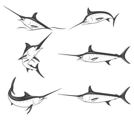 Set of monochrome marlins. Vector EPS8 illustration. Illustration