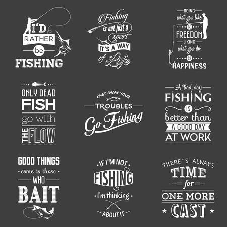 Set of vintage fishing typographic quotes. Vector EPS8 illustration.