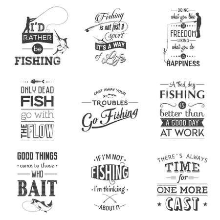 pecheur: Ensemble de citations de pêche typographiques vintage. grunge effet peut être modifié ou supprimé. Vector illustration EPS10.