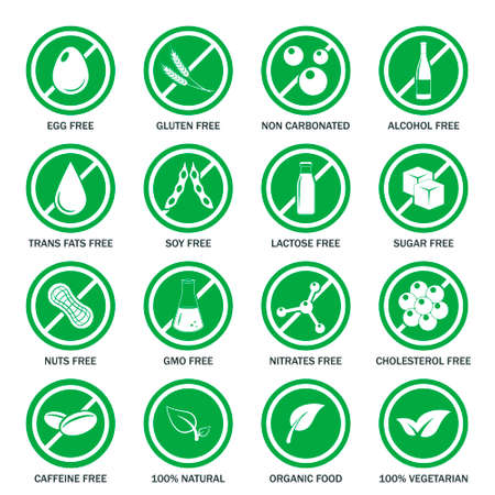 Food allergen icons set.