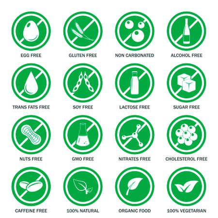 Food allergen icons set.