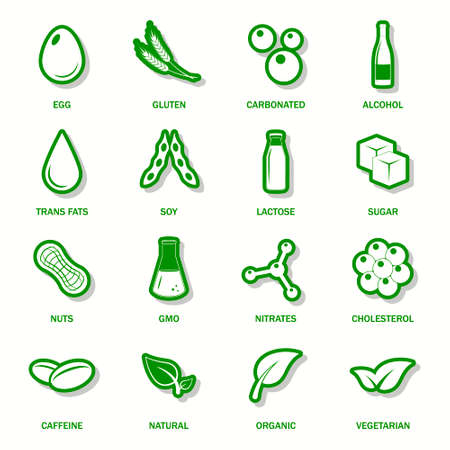 lactose: Food allergen icons set.