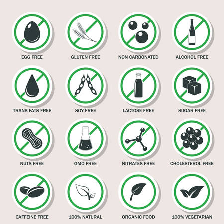 irritable bowel syndrome: Food allergen icons set.
