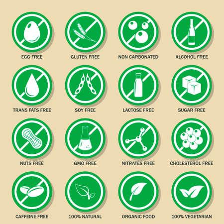 irritable bowel syndrome: Food allergen icons set.