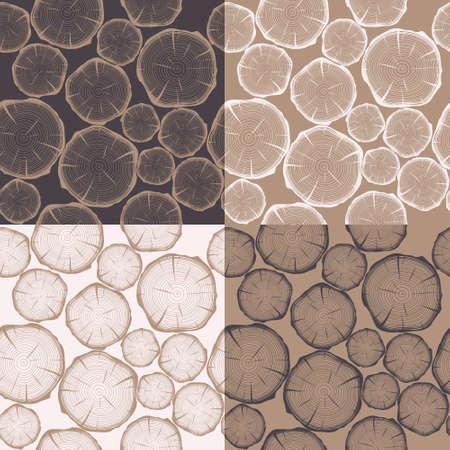 Seamless pattern con gli anelli degli alberi. Vector EPS8 sfondo