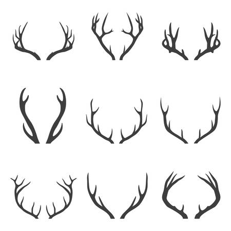 Set of deer horns. Vector EPS8 illustration.
