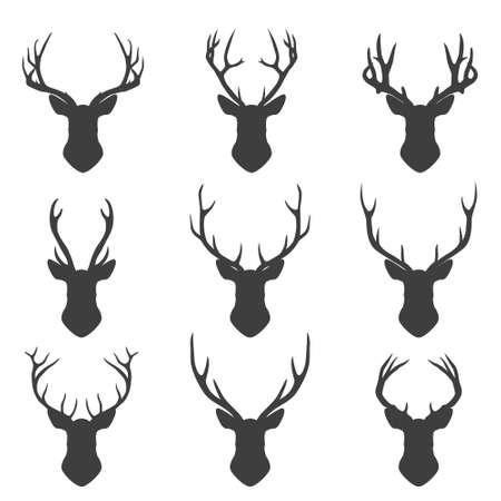 animal head: Set of deer Set of deer silhouettes. Vector EPS8 illustration.