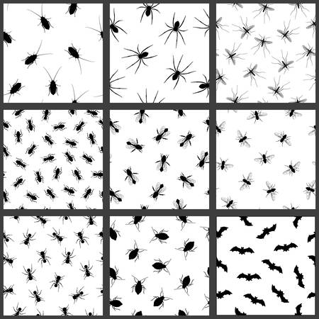 vermin: Pest and insect seamless pattern set. Vector EPS8 illustration.