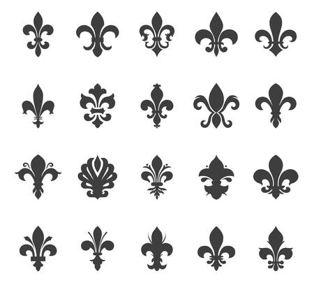 Fleur de lis set. Vector EPS8 illustration.  Stock Illustratie