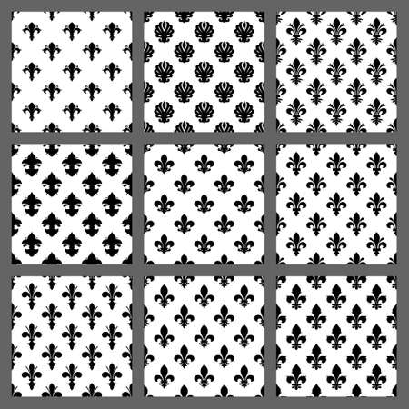 fleur of lis: Fleur de lis seamless patterns set. Vector EPS8 illustration.