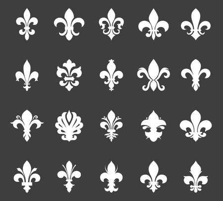 fleur of lis: Fleur de lis set. Vector EPS8 illustration. Illustration