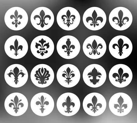 distinguishing: Fleur de lis set. Vector EPS8 illustration. Illustration