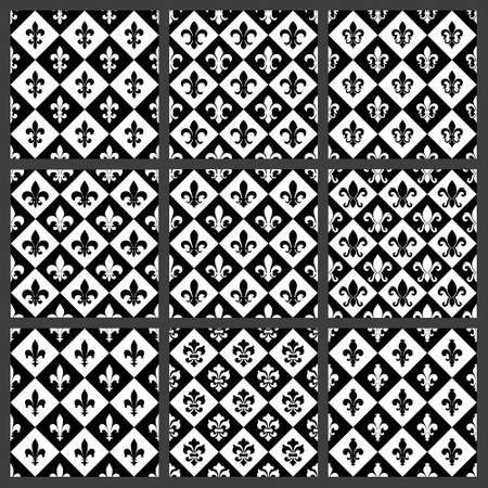 distinguishing: Fleur de lis seamless patterns set. Vector EPS8 illustration.