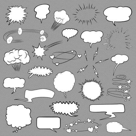 copy book: Comic bubbles and elements set. Vector EPS8 illustration. Illustration