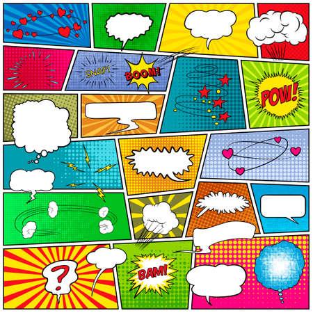 historietas: Maqueta de una página típica del cómic con las burbujas del discurso, símbolos, efectos de sonido y fondos en color de la tira de medias tintas. ilustración vectorial EPS10.