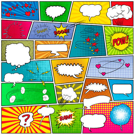 Mock-up of a typical comic book page with speech bubbles, symbols, sound effects and colored halftone strip backgrounds. Vector EPS10 illustration. Vettoriali
