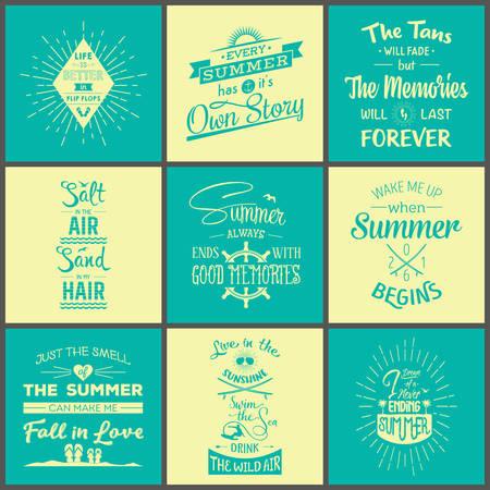 summer fun: Set of vintage summer typographic quotes.
