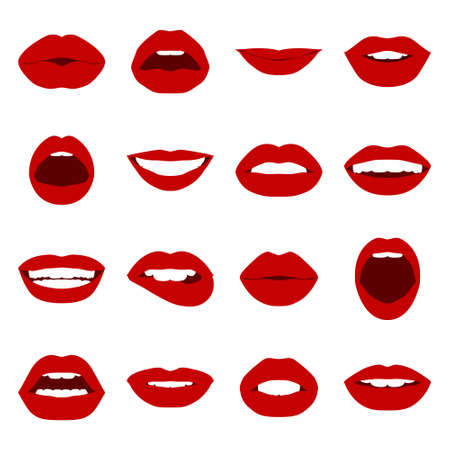 kiss lips: Lips set. Womans mouth close up with expressing different emotions. Vector EPS8 illustration.