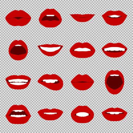 dientes caricatura: Labios fijados. boca mujer de cerca con expresar diferentes emociones. Ilustración del vector EPS8.