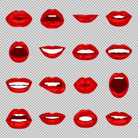 girl mouth open: Lips set. Womans mouth close up with expressing different emotions. Vector EPS8 illustration.