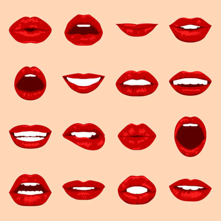 woman smile: Lips set. Womans mouth close up with expressing different emotions. Vector EPS8 illustration.