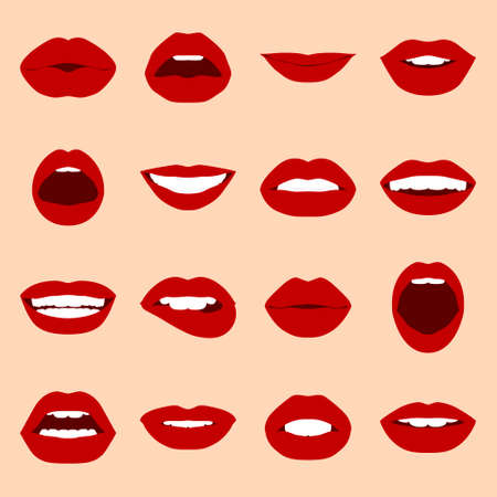beauty girls: Lips set. Womans mouth close up with expressing different emotions. Vector EPS8 illustration.