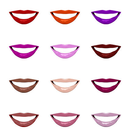 mouth close up: Lips set. Womans mouth close up in different colors. Vector EPS8 illustration.