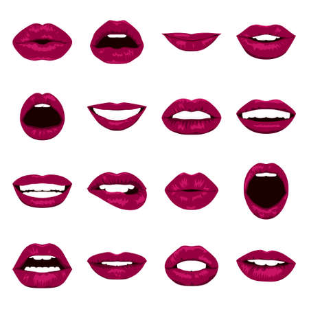 expressing: Lips set. Womans mouth close up with expressing different emotions. Vector EPS8 illustration.