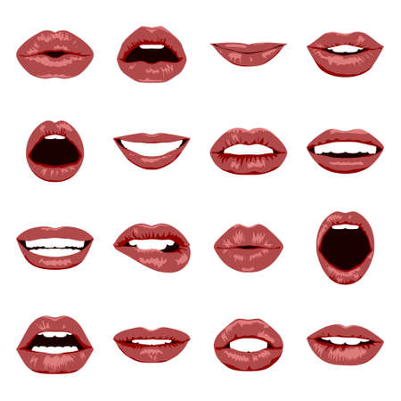 beautiful teeth: Lips set. Womans mouth close up with expressing different emotions. Vector EPS8 illustration.