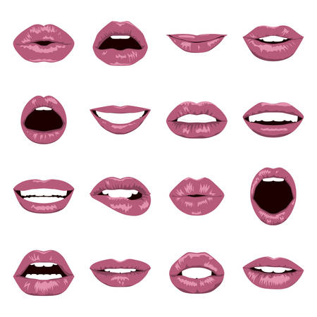lips smile: Lips set. Womans mouth close up with expressing different emotions. Vector EPS8 illustration.