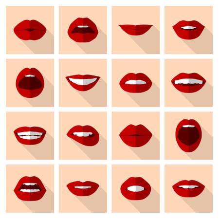 Lips set. Dames mond close-up in vlakke stijl met het uiten van verschillende emoties. Vector EPS10 illustratie. Stock Illustratie
