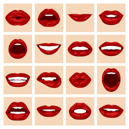 mouth close up: Lips set. Womans mouth close up with expressing different emotions. Vector EPS8 illustration.