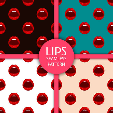 sexy tongue: Set of seamless patterns with lips. Vector EPS10 illustration.