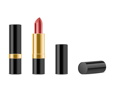 lipgloss: Red lipstick isolated on white background. Illustration