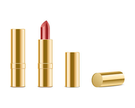 red lipstick: Red lipstick isolated on white background. Illustration