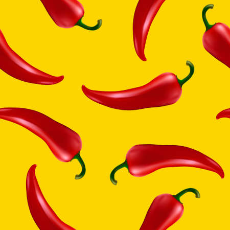 chilli pepper: Seamless pattern with red chilli pepper. Illustration