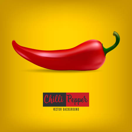 chilli pepper: Background with red chilli pepper. Illustration