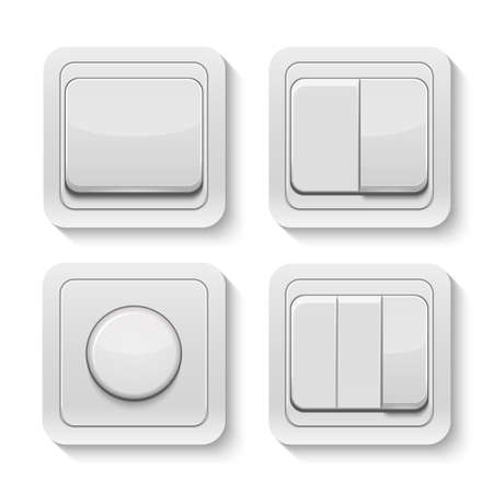 switches: Set of realistic vector switches isolated on white. Illustration