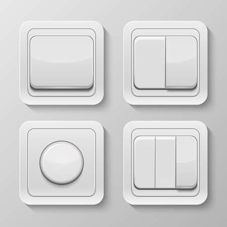 Set of realistic vector switches isolated on white . Vector illustration.