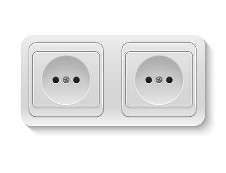 plactic: Realistic plastic whiteVector power socket isolated on white. Vector illustration.