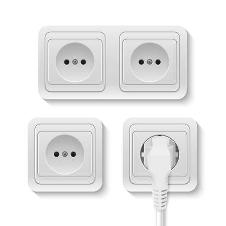 wall socket: Realistic plastic whiteVector power socket isolated on white. Vector illustration.