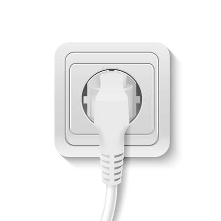 wall socket: Realistic plastic power socket cable plugged isolated on white. Vector illustration.