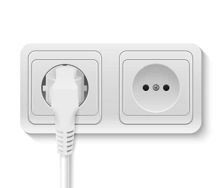 wall socket: Realistic plastic power socket with cable plugged isolated on white. Vector illustration.