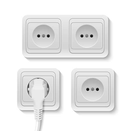sockets: Set of realistic plastic power sockets isolated on white. Vector illustration.