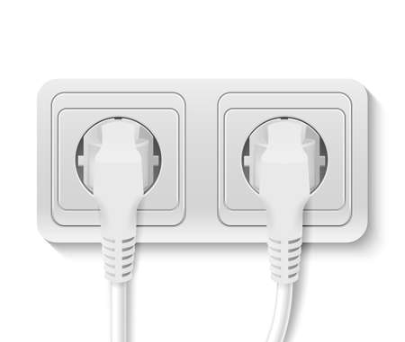 Realistic plastic power socket with cable plugged isolated on white. Vector illustration.